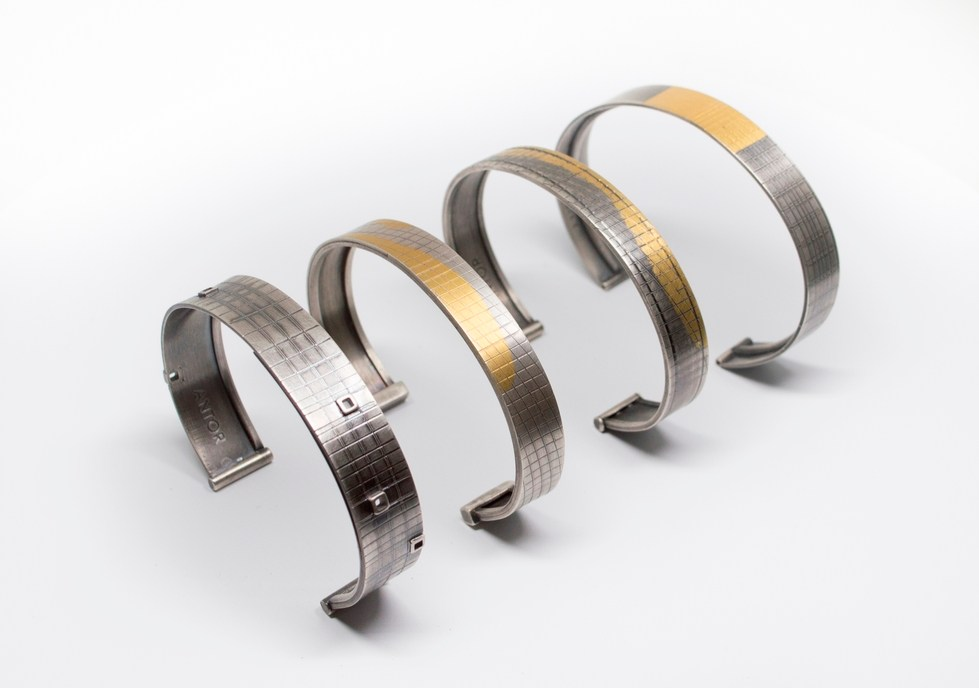 Cuffs made out of Sterling silver, 24k keum boo